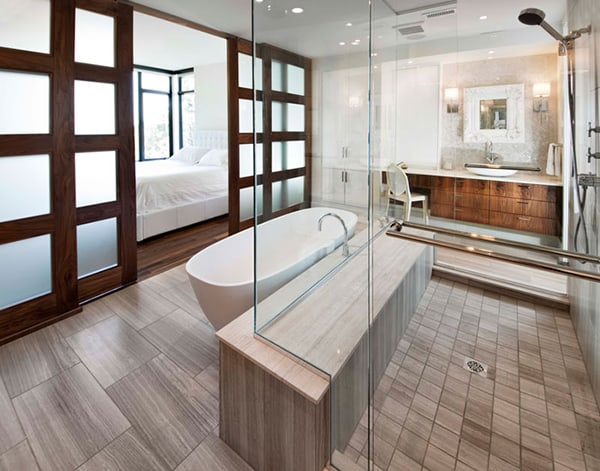 Ensuite bathroom design by vok design group for Modern small ensuite