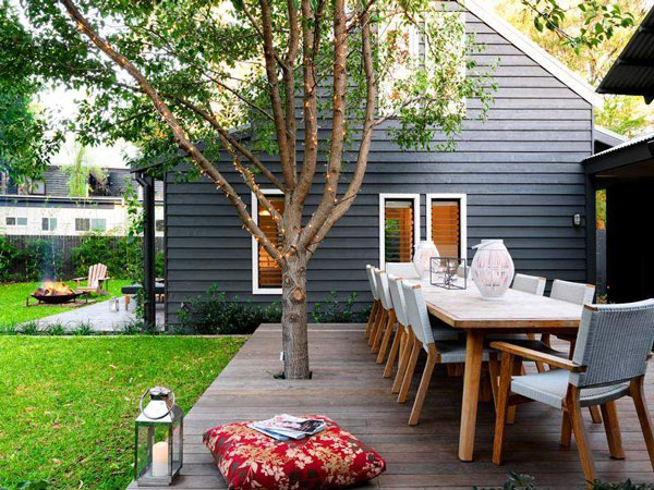 Exterior: Enclosed Courtyard Design With A Central Entertaining Deck