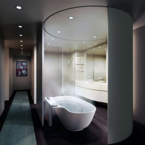 Loft Master Bathroom Design by UNStudio – movable curved wall