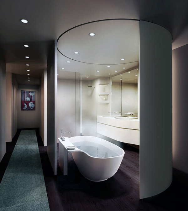 five franklin place loft master bathroom Loft Master Bathroom Design by UNStudio   movable curved wall