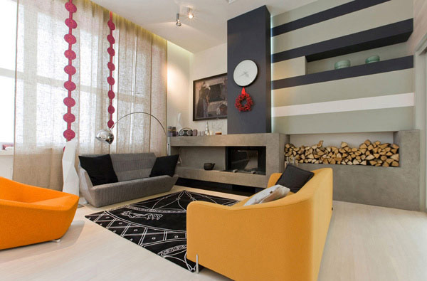View in gallery fun living room modern flair 1 Fun Living Room Design with  Modern Flair