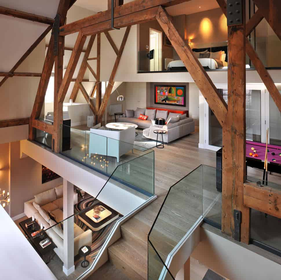 Gothic Penthouse Revived with Modern Finishes and Pops of Color