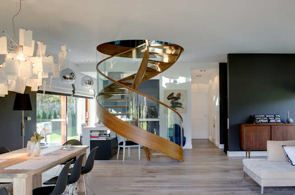 home impressive spiral staircase 2 Contemporary Spiral Staircase in Wood and Glass