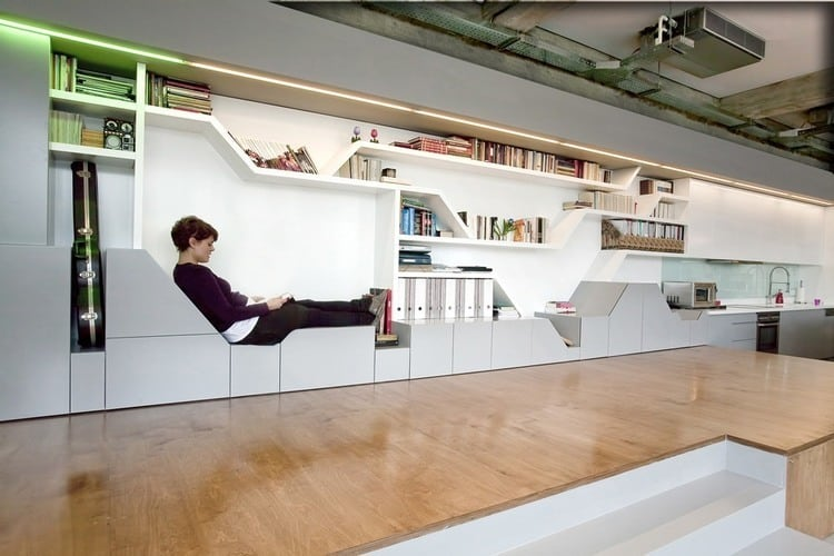 Genial Industrial Loft With Seating Integrated Into Shelves