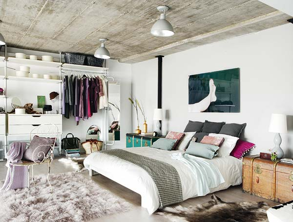Eclectic Bedroom Interior: An Industrial Romance Photo