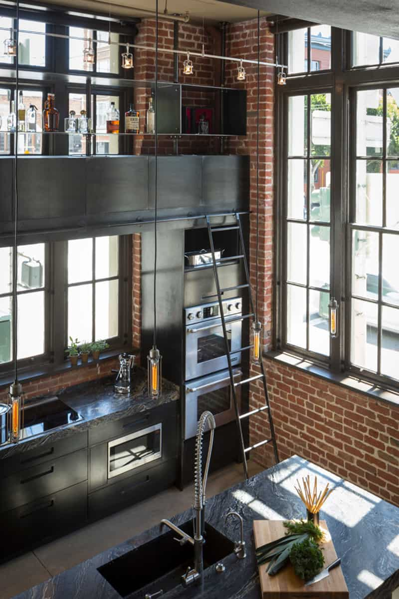 The Plumbing Pipe Lights Close To The Ceiling Suit The Industrial Style  Kitchen, And Provide Lighting For The Upper Shelves.