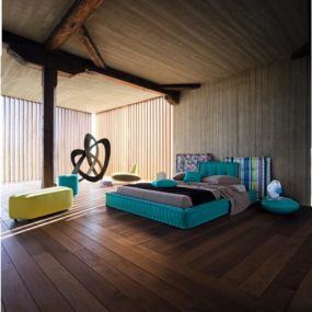 Rustic Modern Aqua Bedroom Idea by Roche Bobois