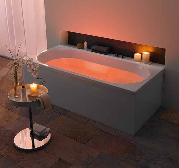 kaldewei bathroom mood lighting peach Kaldewei Bathroom with LED Mood Lighting   indirect lighting for bathtubs