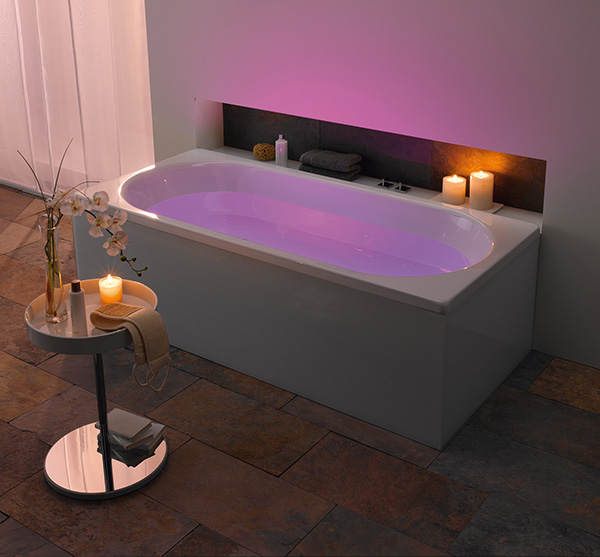 kaldewei bathroom mood lighting violet Kaldewei Bathroom with LED Mood Lighting   indirect lighting for bathtubs