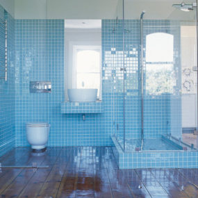 Light Blue Tile Bathroom of Apartment Jane