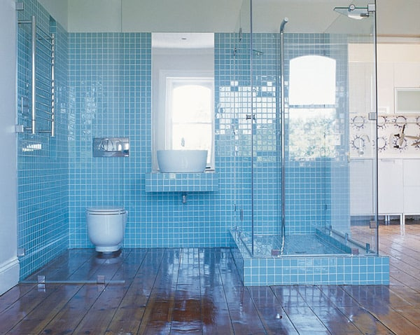 Attirant Light Blue Tile Bathroom Of Apartment Jane