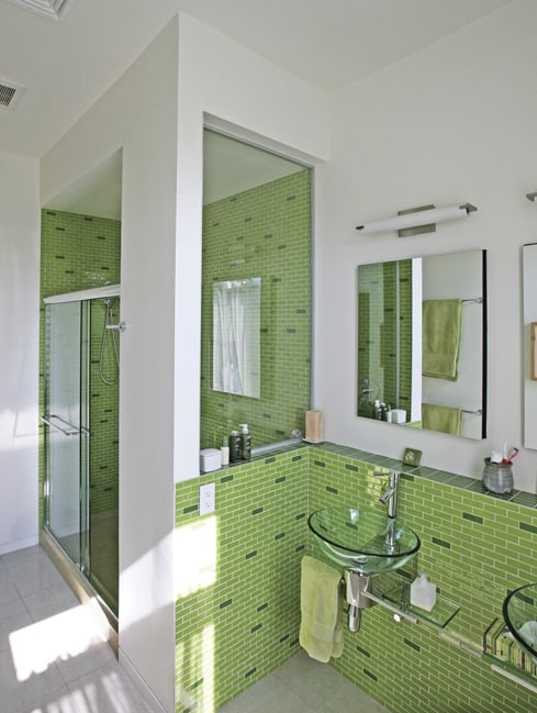 light green bathroom subway tile 1 Light Green Bathroom with Subway Tile