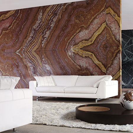 living room stone art wall Stunning Stone Art Divider Wall with Roche Bobois Salto Sofa