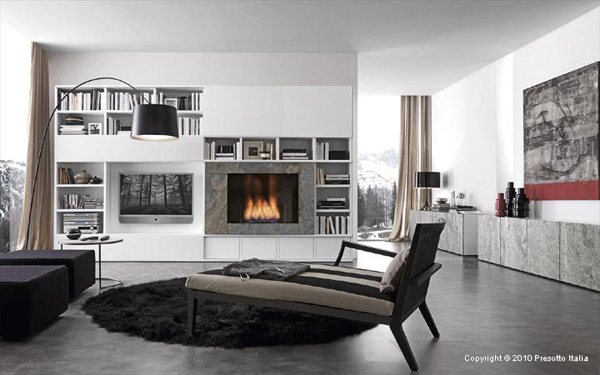 living room storage solutions ideas pari dispari units by presotto. Black Bedroom Furniture Sets. Home Design Ideas