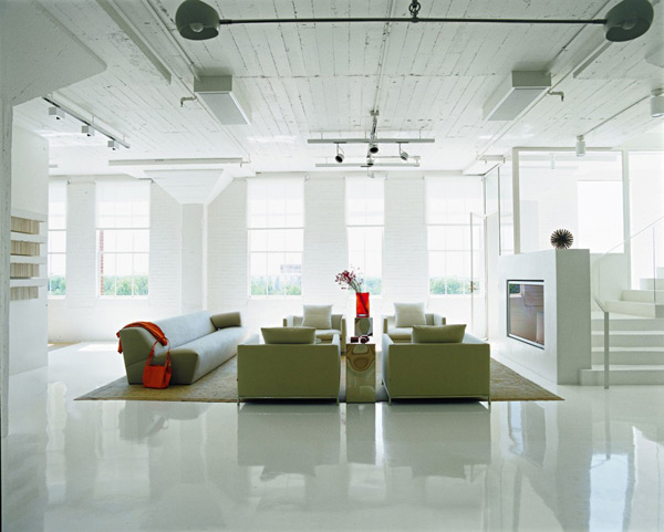 Loft Apartment Decorating Ideas Glossy Floors Colorful Accessories 1
