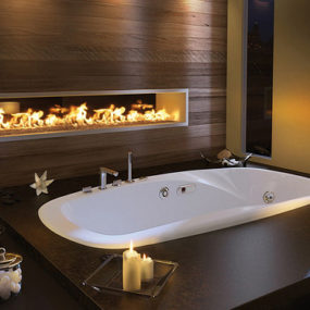 Luxury Master Bathroom Idea by Pearl: drop-in bathtub and built-in fireplace