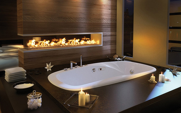 luxury master bathroom idea by pearl drop in bathtub and built in fireplace
