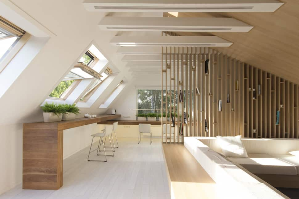 Mansard den with bonfire inspired fireplace for Mansard room