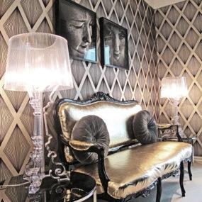 Metallic Accents Decor: fabric, tiles for chic interiors