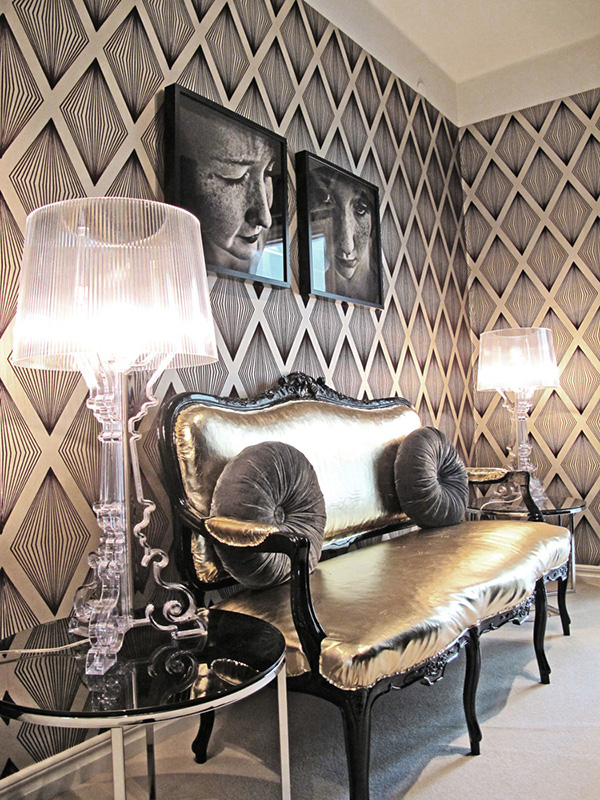 metallic accents glamorous home 13 Metallic Accents Decor: fabric, tiles for chic interiors