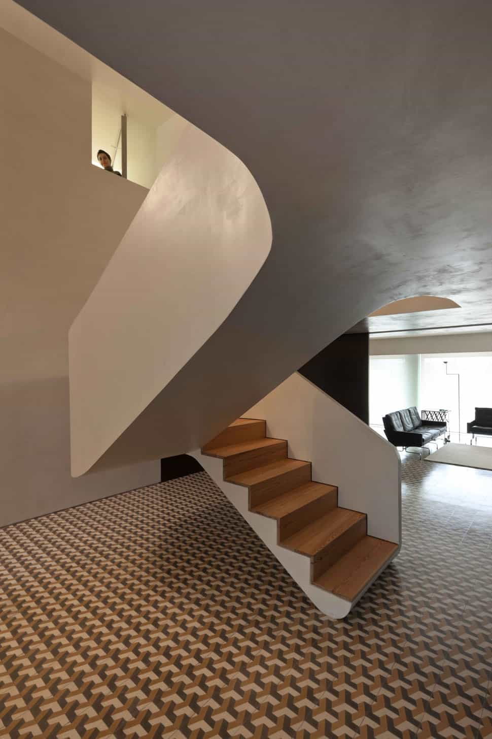 View In Gallery Minimalist Home With Bold Flooring And Staircase Sculpture