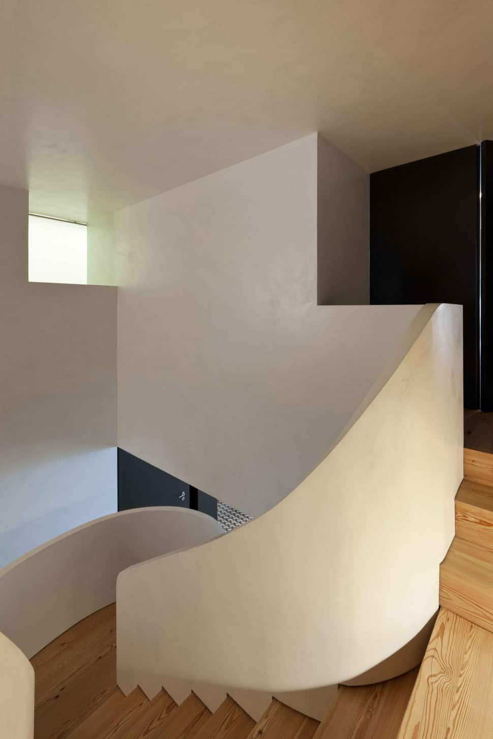 Elegant View In Gallery Minimalist Home With Bold Flooring And Staircase Sculpture  Ideas