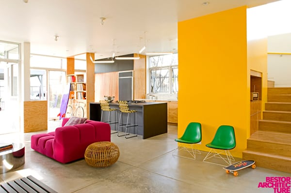 modern home colorful interior 1 Home with Colorful Interior by Barbara Bestor