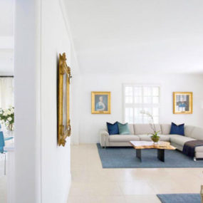 Modern Home with Cool Hues and Classical Accents