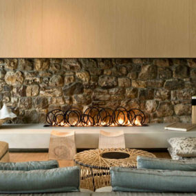 Modern Stone Fireplace Design by Pattersons Architects