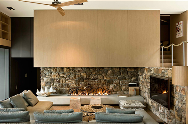 fireplace modern design. modern stone fireplace design pattersons 3 jpg Modern Stone Fireplace Design by Pattersons Architects