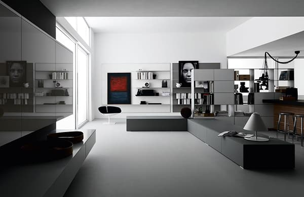 open space living room designs by valcucine. Black Bedroom Furniture Sets. Home Design Ideas