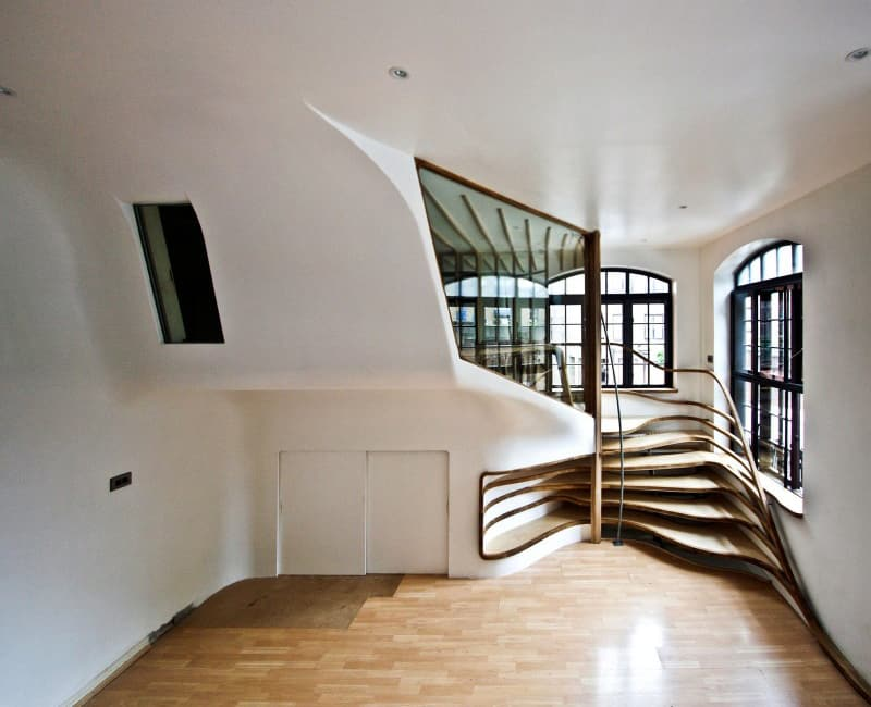 Organic-shaped Wooden Spiraling Staircase