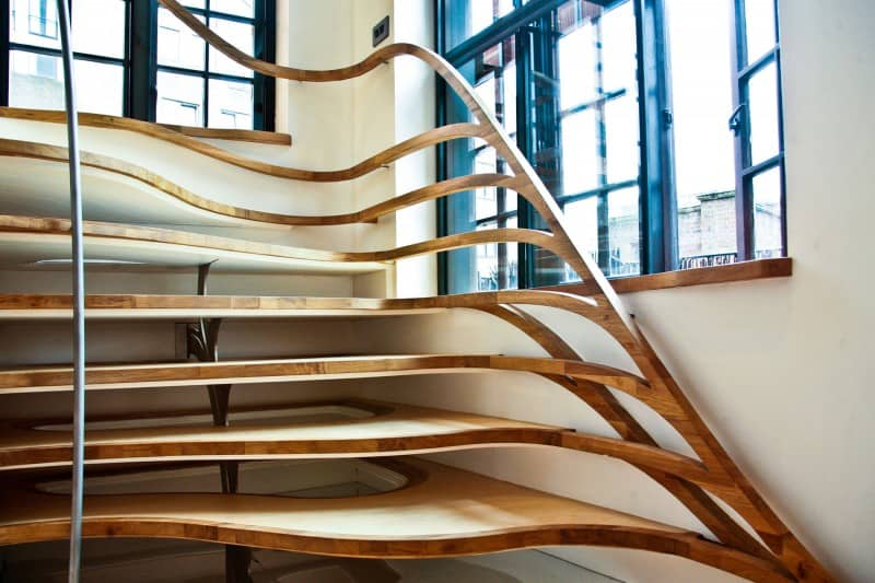 Organic Shaped Wooden Spiraling Staircase