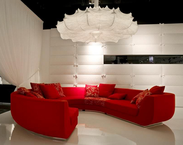 Red Sofa in Living Room Design - Interior Idea by Marcel Wanders