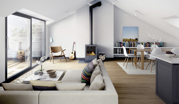 Retro modern apartment design for 1950s modern house design
