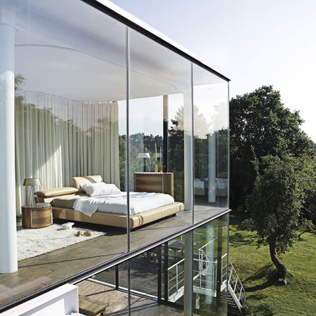 Glass Windows Bedroom Interior with Roche Bobois Anarima Bed