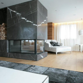 Room Divider Fireplace – marble design by Carlo Colombo