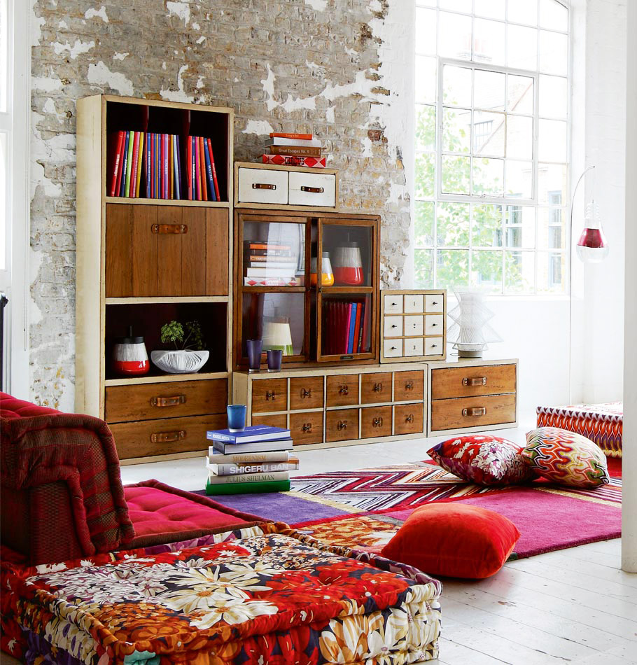 Chic Colorful Living Room: Casual-chic Living Room Decor: Rustic Storage, Colorful