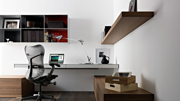 Simple Home Office Design Ideas: wall mounted laptop desk by Valcucine