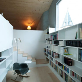 Staircase and Library Nook Design Combination