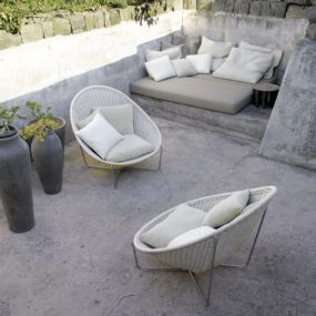 Stone Patio Furniture Idea – making stone or concrete patio cozy