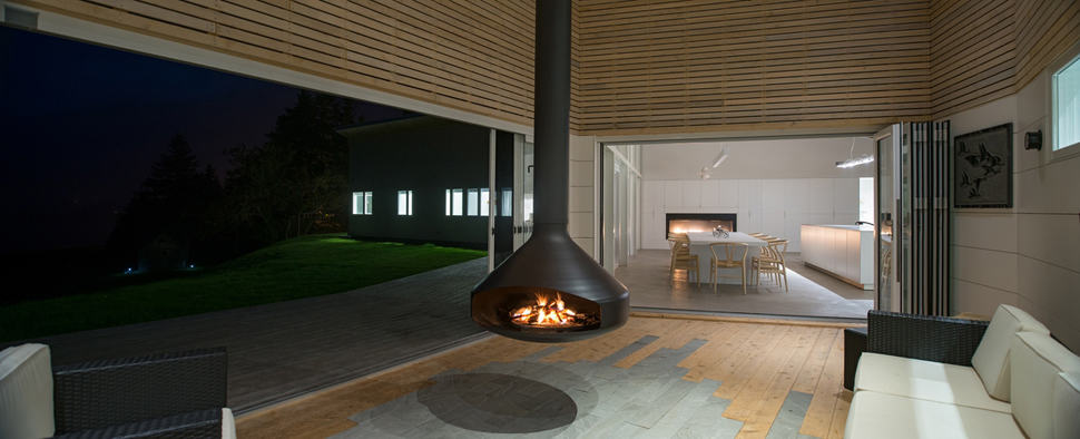Swiveling Hanging Fireplace Serves As Heat For Both