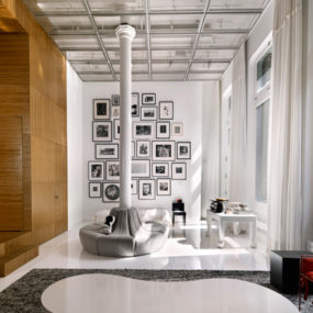 Unusual and Creative Minimalist Loft in NYC with a catwalk