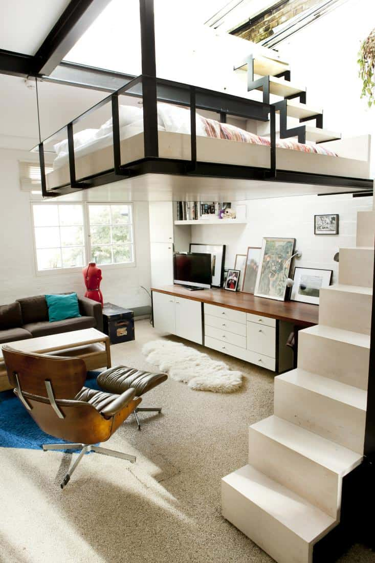 utterly unique space saving suspended bed skylight views 3 stairs