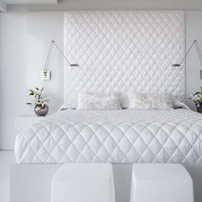 All White Bedroom: not boring design idea