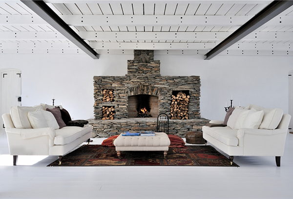 white swedish interiors fireplace features 1 White Swedish Interiors with Fireplace Features