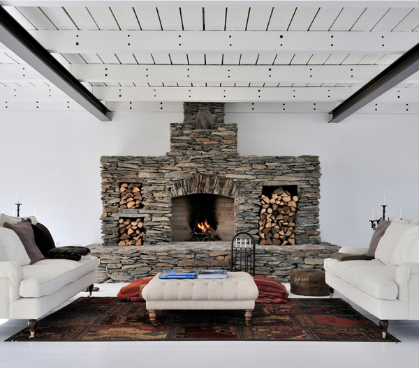white swedish interiors fireplace features 12 White Swedish Interiors with Fireplace Features
