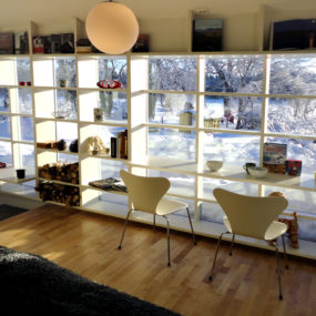Window Frame Transformed into Shelves and Desks