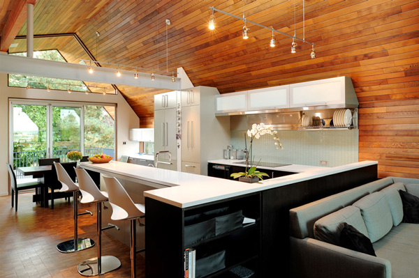 wooden walls ceiling sleek modern kitchen 2 Kitchen with Wooden Walls and Ceiling