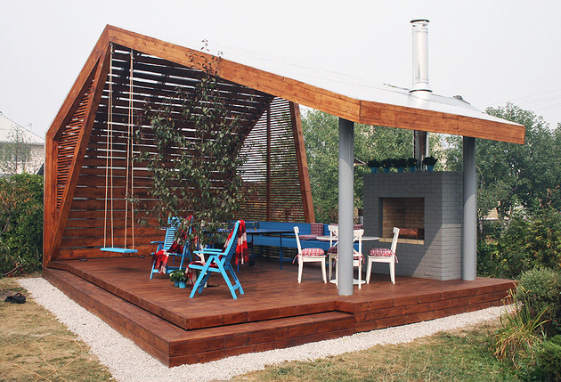 modern outdoor pavilion with fireplace and ping pong table 1 thumb 630x429 17168 Modern Outdoor Pavilion with Fireplace and Ping pong Table
